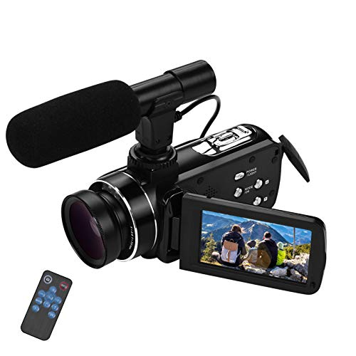 Video camera HD, Andoer 4K Ultra HD Palmare DV Videocamera professionale, 18X Digital Zoom Camera, 3.0' LCD, con Obiettivo Grandangolare 0.45X e Microfono